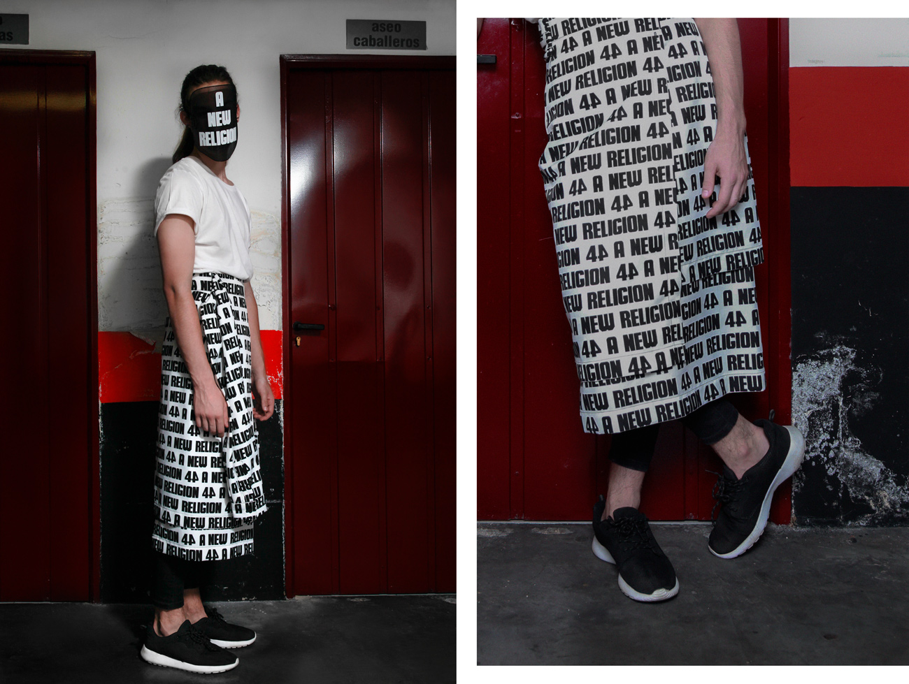 "Falda ""A new religion"" 44 Studio Camiseta blanca Armani Mascara 44 studio"