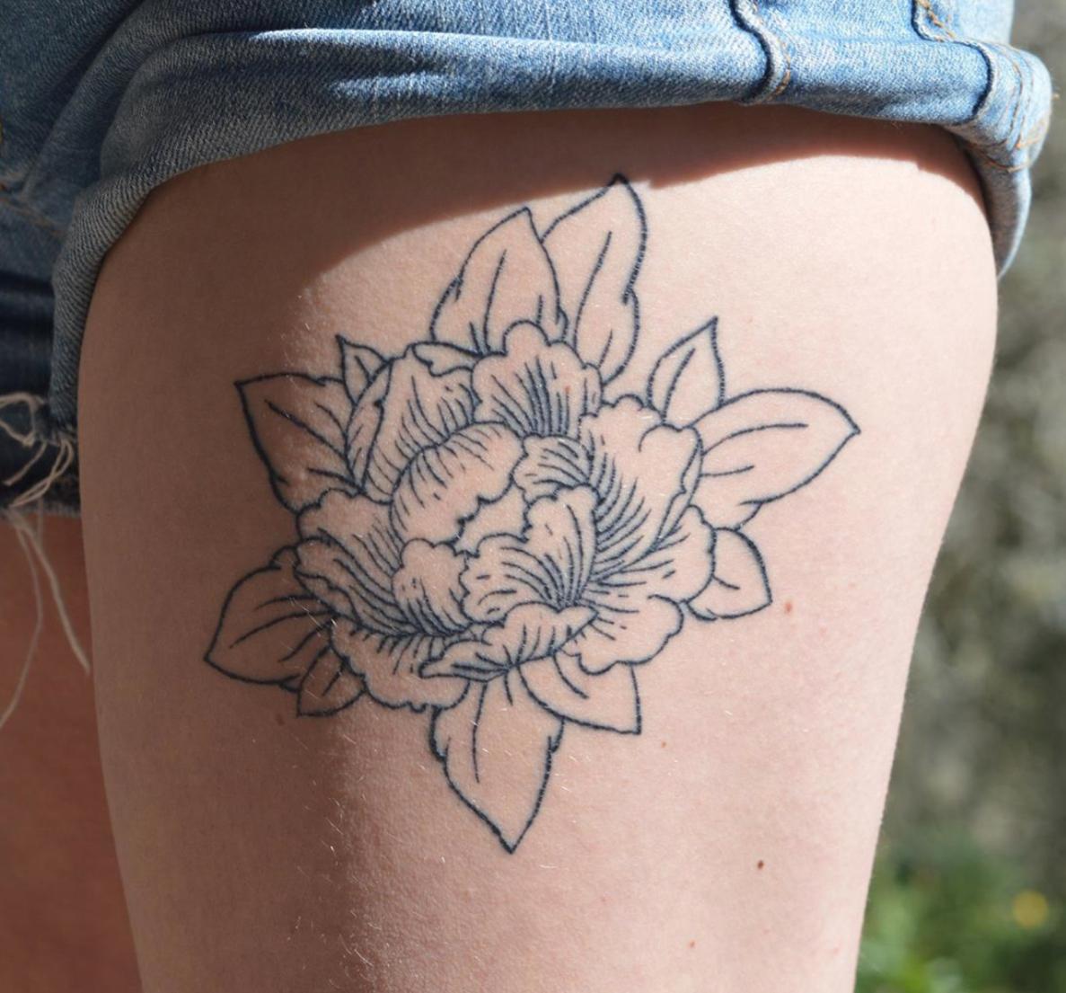 Detalle de tatuaje realizado por Juana Silva