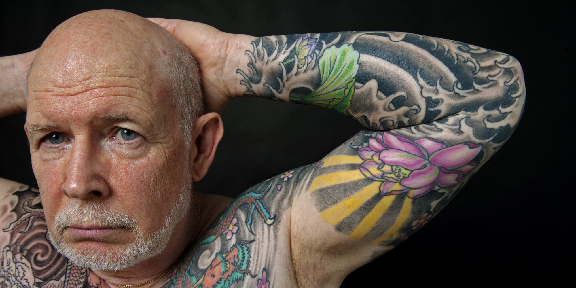WASHINGTON, DC - SEPTEMBER 18:  65 year old Dave Forties of Churchville, Md., waited to retire from the Army in 1998 to start getting tattoos. Some of Dave's tattoo inspirations come from collecting 100 year old Japanese porcelain. (Photo by Marlon Correa/The Washington Post via Getty Images)